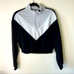 H&M Divided Black Chevron Quarter Zip Sweatshirt